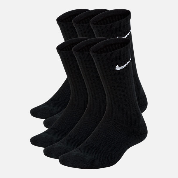 Front view of Kids' Nike 6-Pack Crew Socks in Black/White