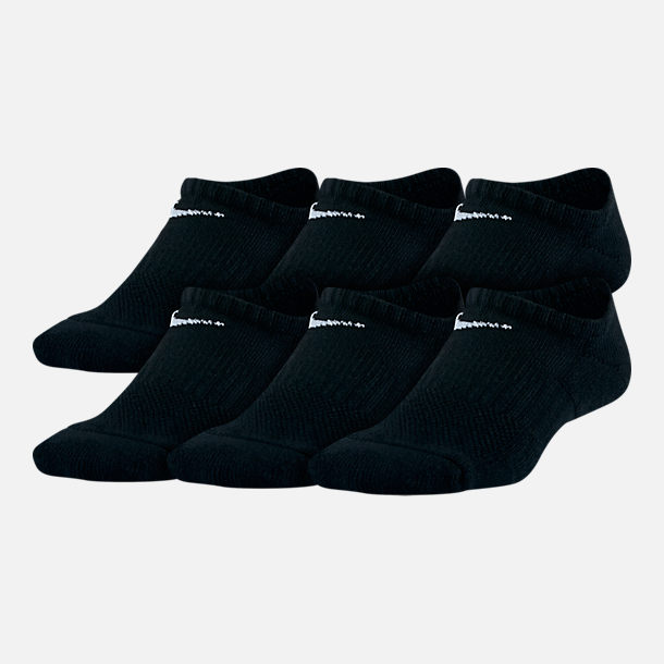 Front view of Kids' Nike 6-Pack No-Show Socks in Black