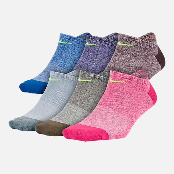 Front view of Women's Nike 6-Pack No-Show Socks in Multi/Aqua/Pink/Purple