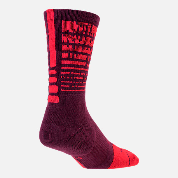 Front view of Unisex Nike Elite 1.5 Pulse Crew Basketball Socks in Bordeaux/University Red