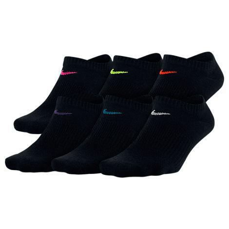 Nike Hosiery WOMEN'S 6-PACK NO-SHOW SOCKS, BLACK