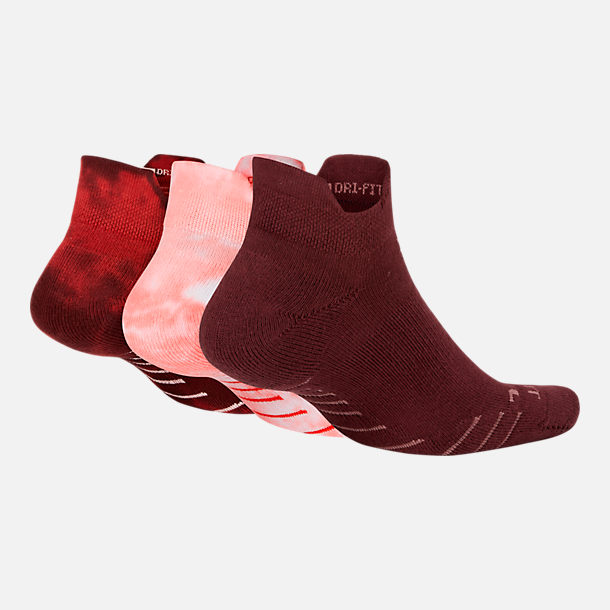 Back view of Women's Nike 3-Pack Marl No-Show Socks in Tie Dye Guava
