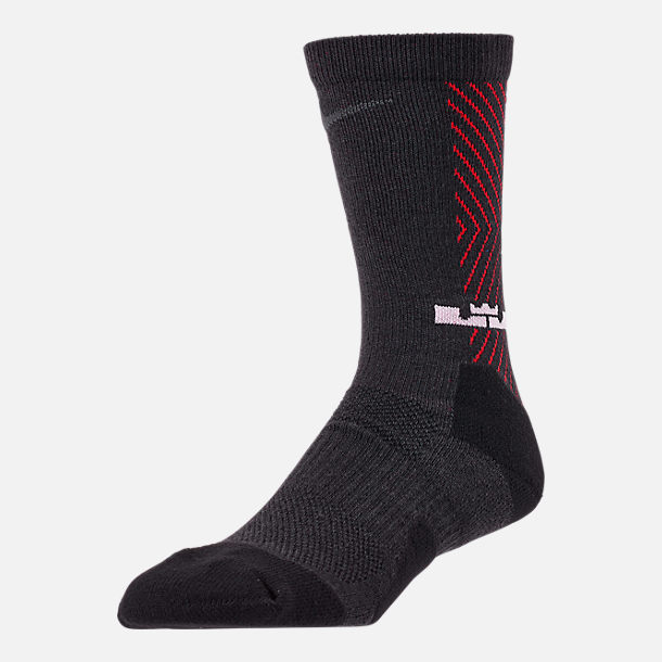 Front view of Unisex Nike LeBron Elite Crew Basketball Socks in Black/University Red