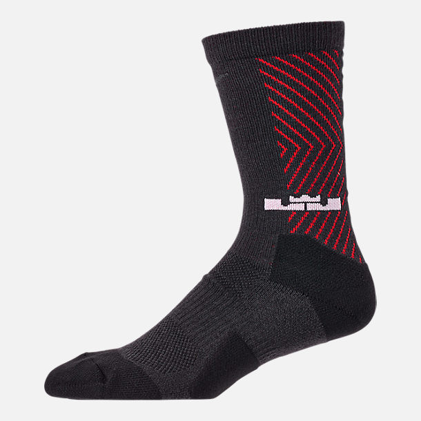 Back view of Unisex Nike LeBron Elite Crew Basketball Socks in Black/University Red