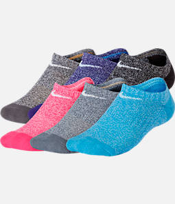 Girls' Nike Performance Cushioned 6-Pack No-Show Training Socks