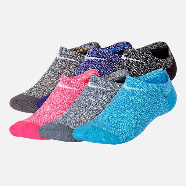 Front view of Girls' Nike Performance Cushioned 6-Pack No-Show Training Socks in Blue/Grey/Pink/Purple