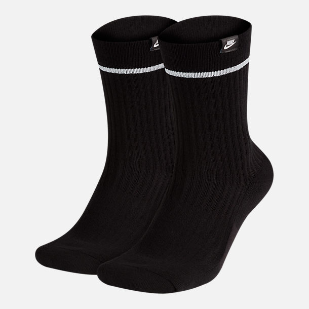 Front view of Unisex Nike Sportswear 2-Pack Essential Sneaker Crew Socks in Black/White