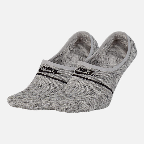 Front view of Unisex Nike Sportswear 2-Pack Essential Sneaker No-Show Socks in Wolf Grey/Black