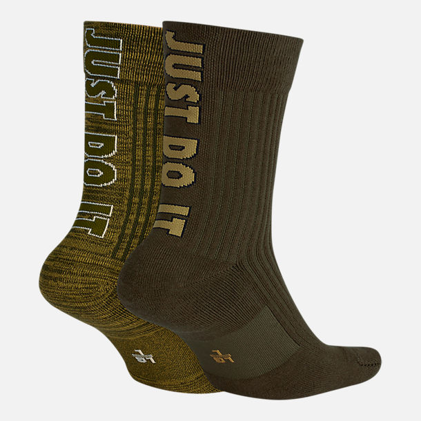 Front view of Men's Nike 2-Pack Just Do It Crew Socks in Olive/Black