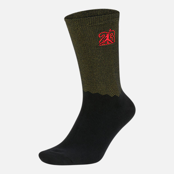 Front view of Unisex Air Jordan Legacy Retro 13 Crew Socks in Black/University Gold/University Red
