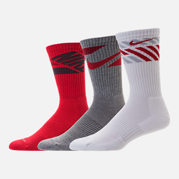 Front view of Nike Dri-FIT Graphic 3-Pack Crew Socks in Red/White/Grey