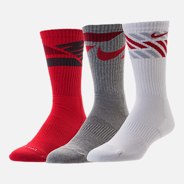 Back view of Nike Dri-FIT Graphic 3-Pack Crew Socks in Red/White/Grey