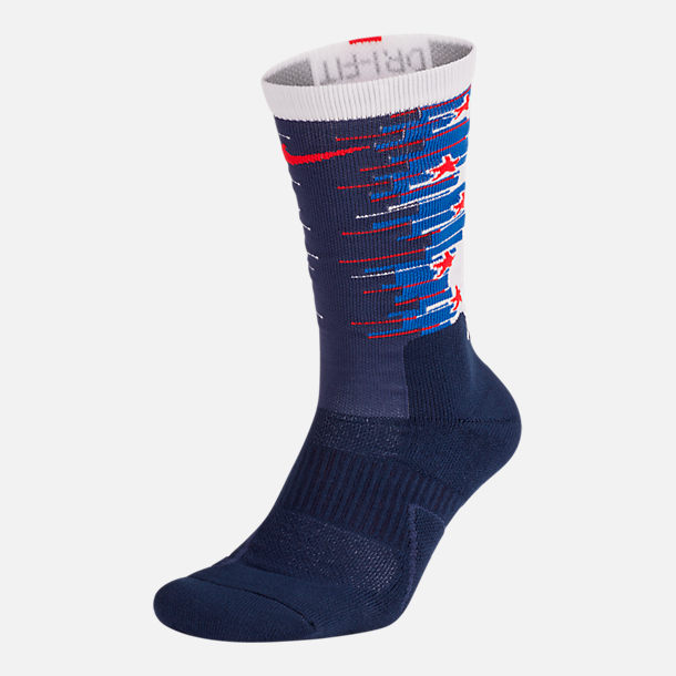 Back view of Unisex Nike Elite 1.5 Crew Fourth of July Basketball Socks in Midnight Navy/White/University Red