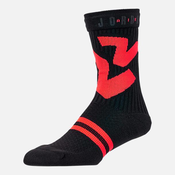 7604dfd9cbf8 Front view of Unisex Air Jordan Retro 6 Basketball Crew Socks in  Black Infrared