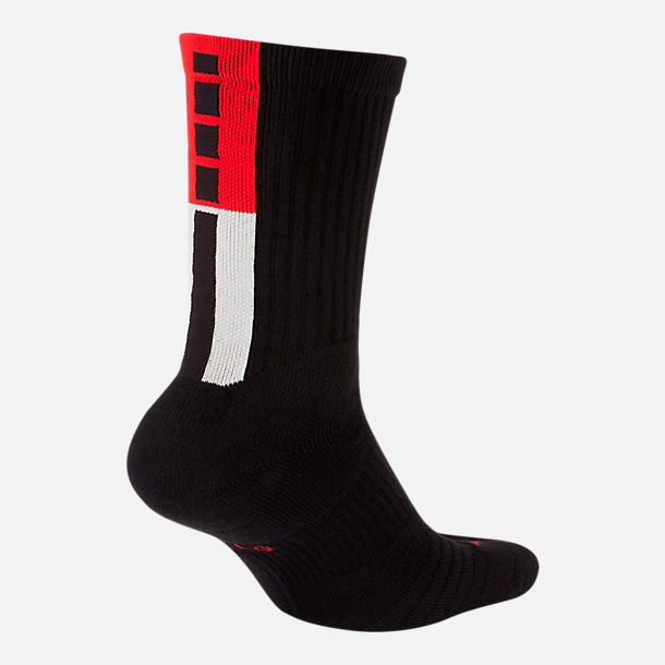 Back view of Unisex Nike Kyrie Elite Crew Basketball Socks in Black/Light Orewood Brown/University Red
