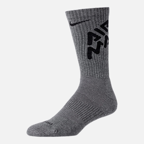 Front view of Unisex Nike Air Max Day 3-Pack Training Crew Socks in Carbon Heather/Black