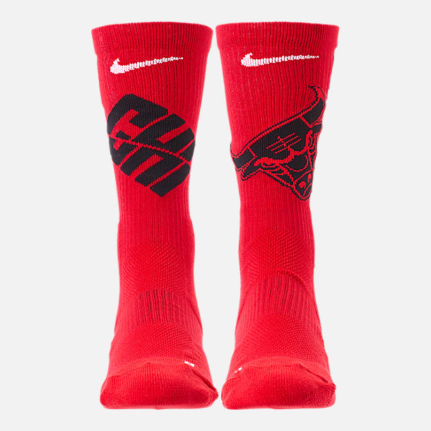 Back view of Unisex Nike Chicago Bulls NBA Team Elite Crew Basketball Socks in University Red