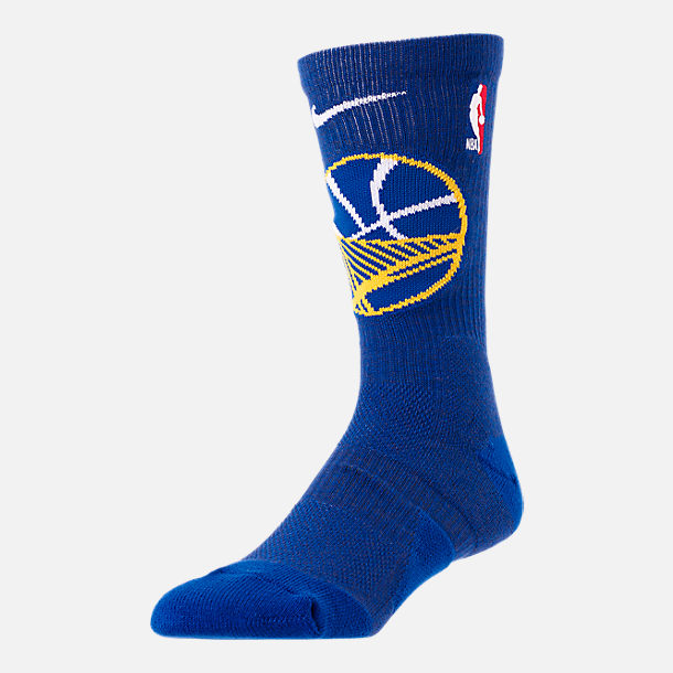 Front view of Unisex Nike Golden State Warriors NBA Team Elite Crew Basketball Socks in Rush Blue