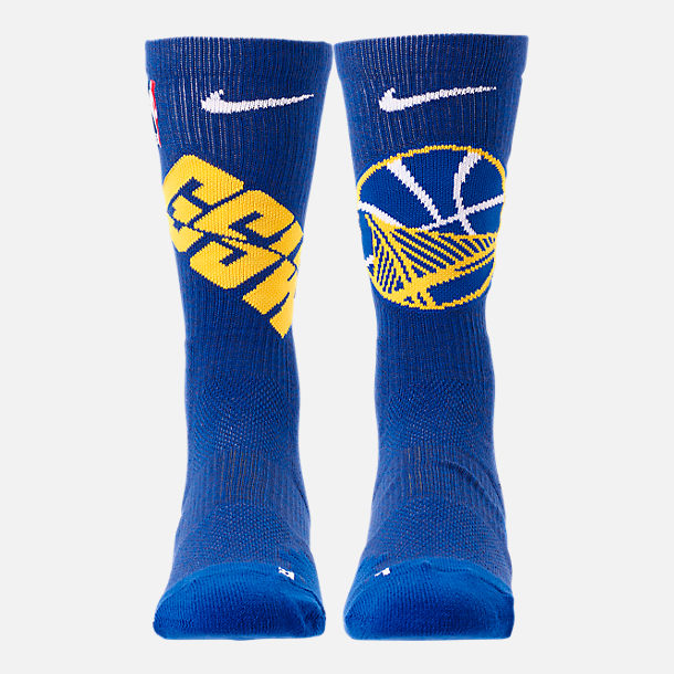 Back view of Unisex Nike Golden State Warriors NBA Team Elite Crew Basketball Socks