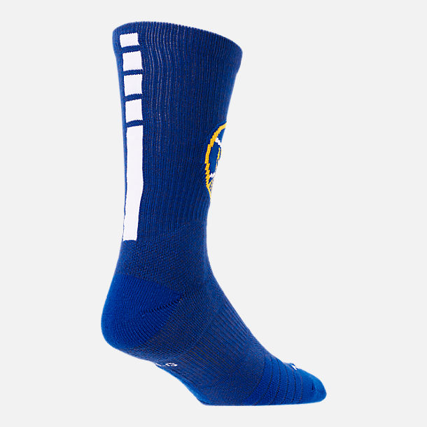 Alternate view of Unisex Nike Golden State Warriors NBA Team Elite Crew Basketball Socks in Rush Blue