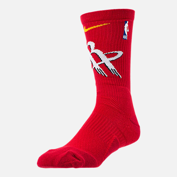 Front view of Unisex Nike Houston Rockets NBA Team Elite Crew Basketball Socks in University Red