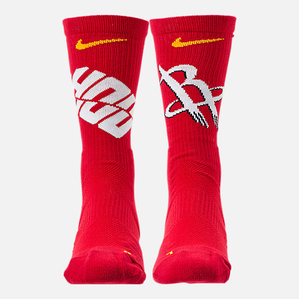 Back view of Unisex Nike Houston Rockets NBA Team Elite Crew Basketball Socks in University Red