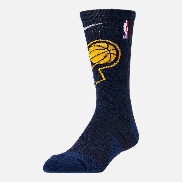 Front view of Unisex Nike Indiana Pacers NBA Team Elite Crew Basketball Socks in College Navy