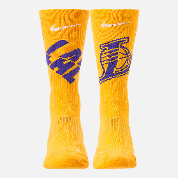 Back view of Unisex Nike Los Angeles Lakers NBA Team Elite Crew Basketball Socks in Amarillo