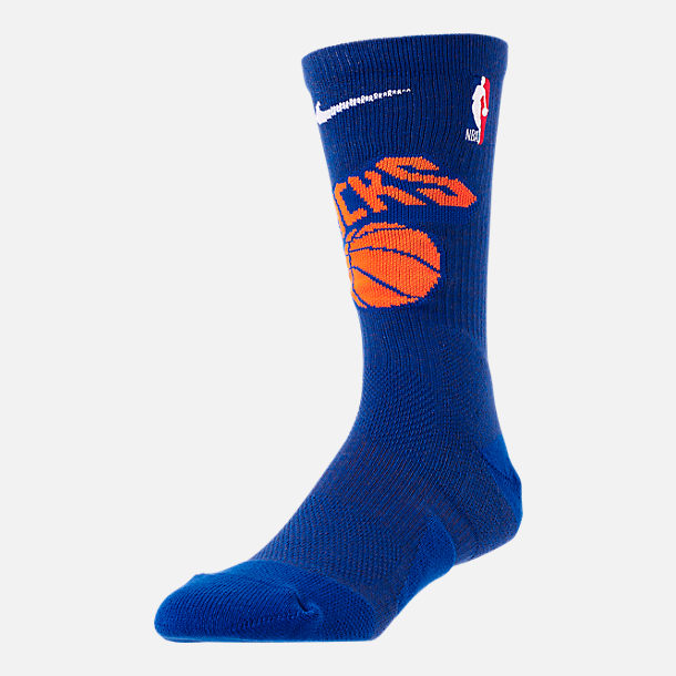 Front view of Unisex Nike New York Knicks NBA Team Elite Crew Basketball Socks in Rush Blue