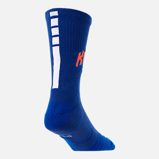 Alternate view of Unisex Nike New York Knicks NBA Team Elite Crew Basketball Socks in Rush Blue