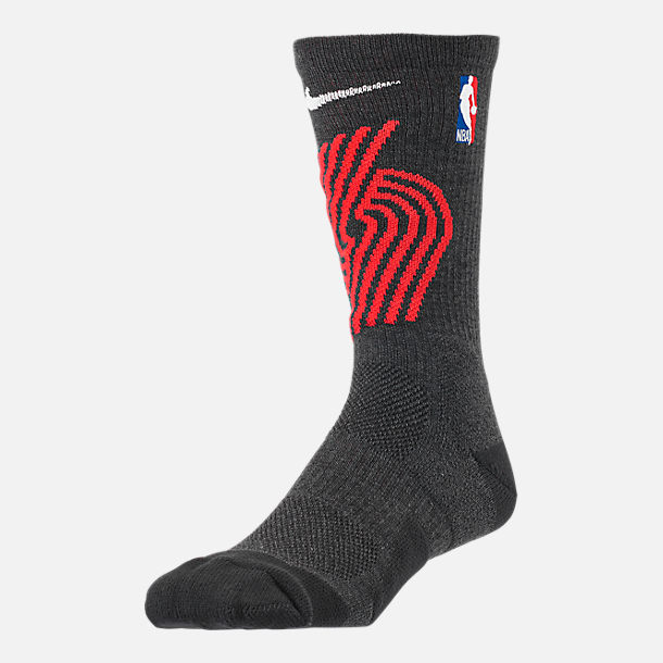 Front view of Unisex Nike Portland Trail Blazers NBA Team Elite Crew Basketball Socks in Black
