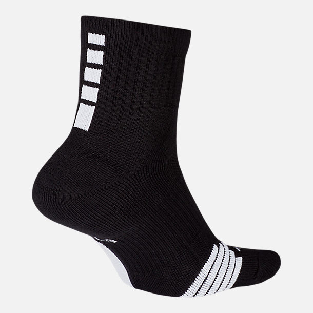 Front view of Unisex Nike Elite Mid Basketball Socks in Black/White