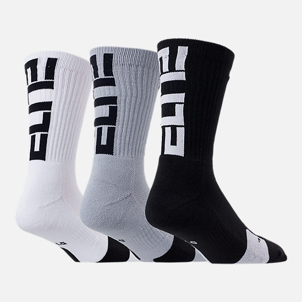 Front view of Unisex Nike Elite 3-Pack Crew Basketball Socks in Black/White