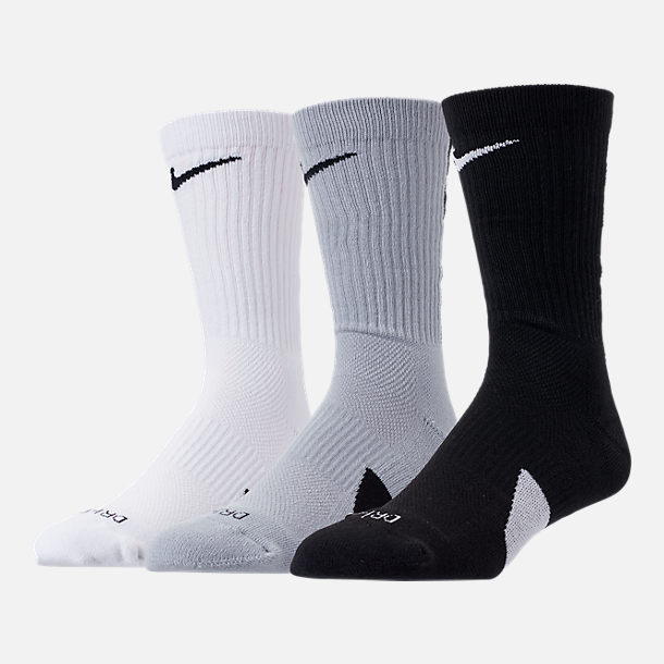 Back view of Unisex Nike Elite 3-Pack Crew Basketball Socks in Black/White