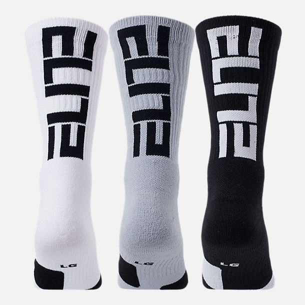 Alternate view of Unisex Nike Elite 3-Pack Crew Basketball Socks in Black/White