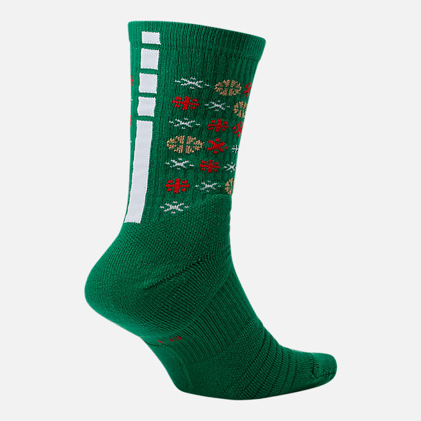 Back view of Unisex Nike Elite Christmas 1.5 Crew Basketball Socks in Clover/Metallic Gold