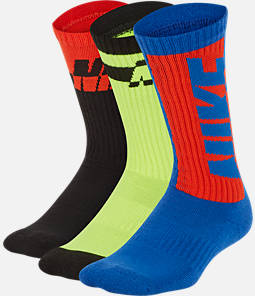 Kids' Nike Everyday Cushioned 3-Pack Crew Socks