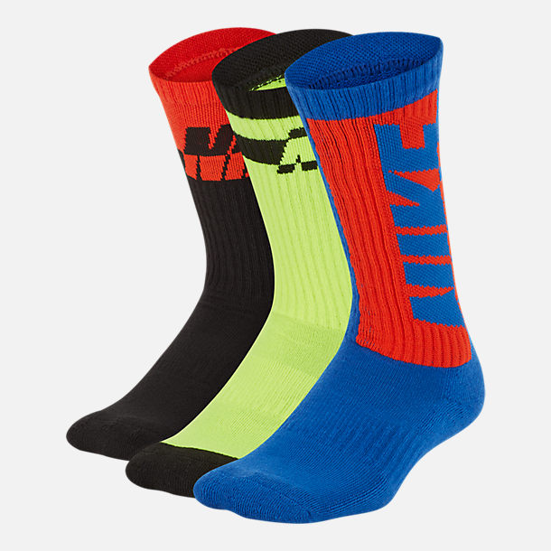 Front view of Kids' Nike Everyday Cushioned 3-Pack Crew Socks in Red/Volt/Blue