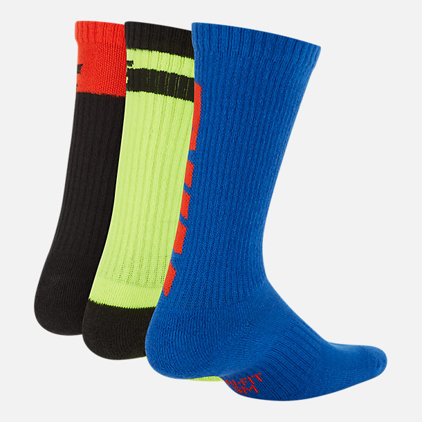 Back view of Kids' Nike Everyday Cushioned 3-Pack Crew Socks in Red/Volt/Blue