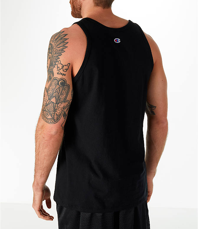 Back Left view of Men's Champion Classic Ringer Tank in Black