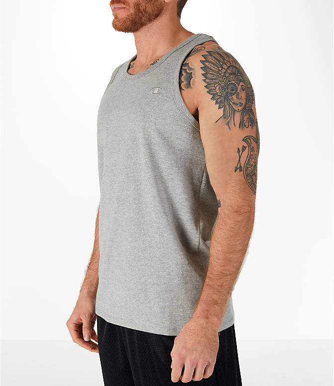 Front Three Quarter view of Men's Champion Classic Ringer Tank in Light Grey