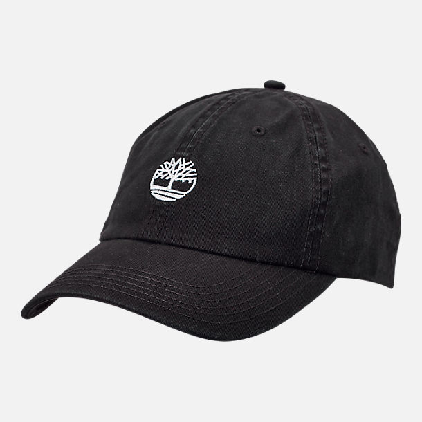 e399a6c2d64 Front view of Timberland Cotton Strapback Dad Baseball Hat in Black