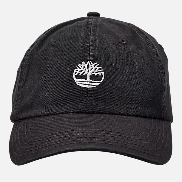 203671accb6 Back view of Timberland Cotton Strapback Dad Baseball Hat in Black