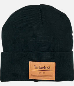 Timberland Leather Patch Cuffed Beanie Hat
