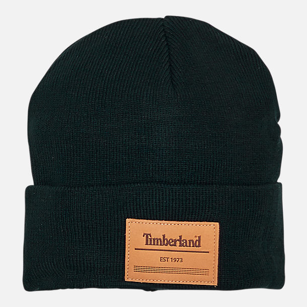Front view of Timberland Leather Patch Cuffed Beanie Hat in Black