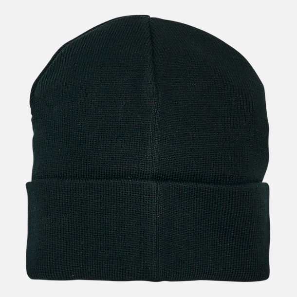 Back view of Timberland Leather Patch Cuffed Beanie Hat in Black
