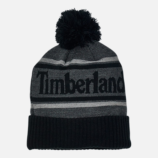 Front view of Men's Timberland Cuffed Pom Beanie Hat in Black/Grey