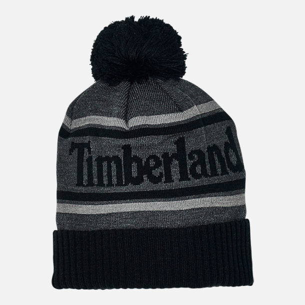 Back view of Men's Timberland Cuffed Pom Beanie Hat in Black/Grey