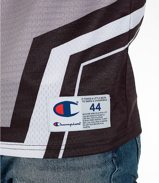 Detail 1 view of Men's Champion Hockey Jersey in Black/Grey/White