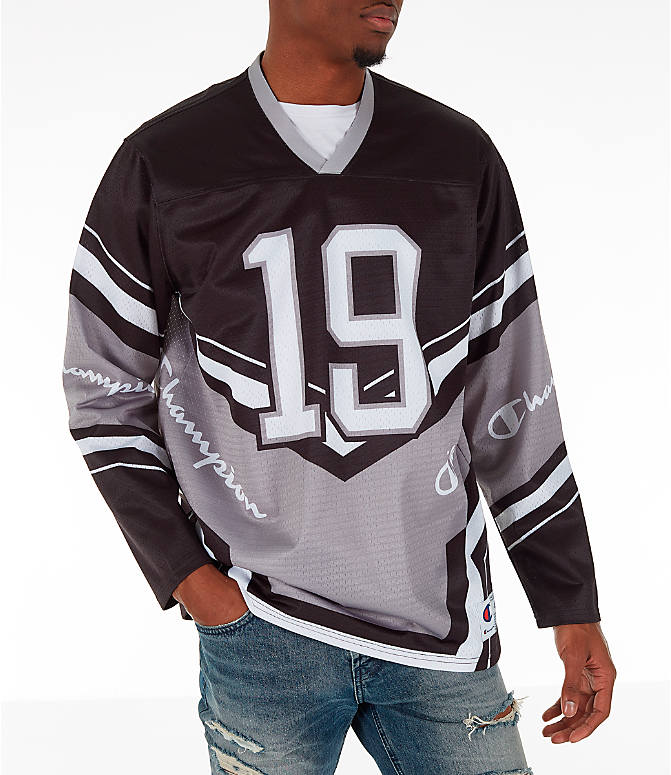 Front view of Men's Champion Hockey Jersey in Black/Grey/White